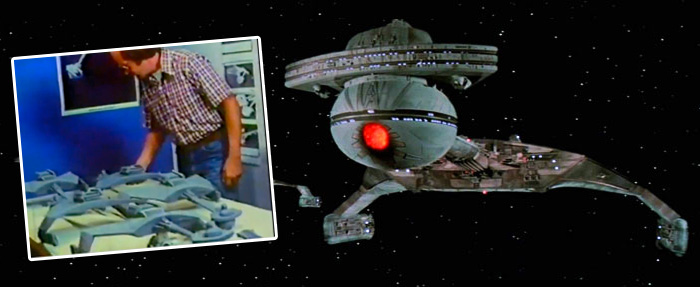 Jim Dow working on Star Trek the Motion Picture, and Greeblied final model.
